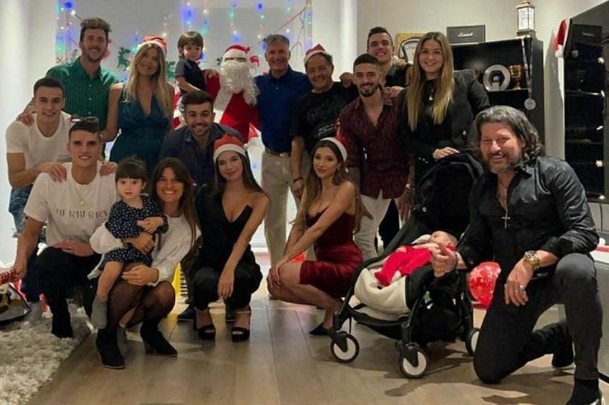 A photo of the Christmas gathering circulated on social media (above) after being posted by Giovani Lo Celso.