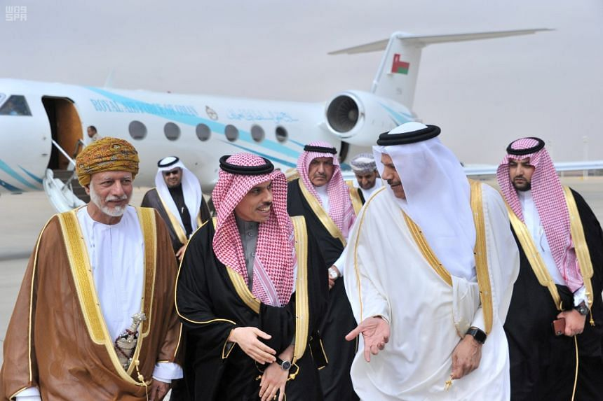 In a photo from Dec 9, 2019, foreign ministers of the Gulf Cooperation Council arrive ahead of a summit in Riyadh.