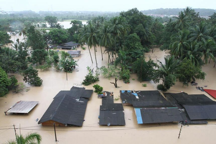 Floodwaters submerged houses in Kampung Laut Skudai, in Johor, on Jan 2, 2021.