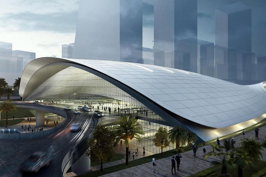 An artist's impression of the Jurong East station of the now terminated HSR project.