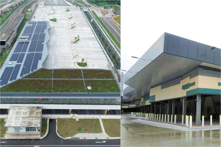 The bus terminal is built on the rooftop of the Gali Batu MRT depot.