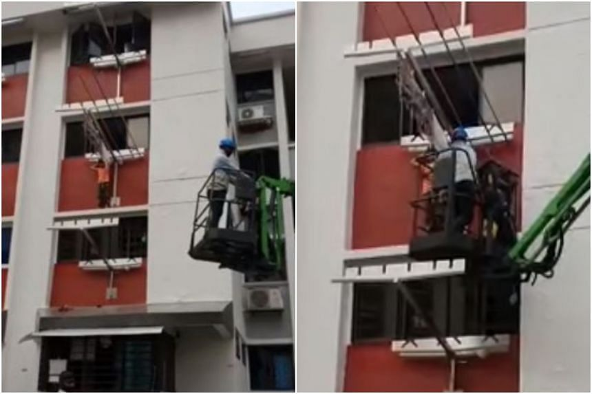 The child was rescued by the worker before SCDF officers arrived at the scene.