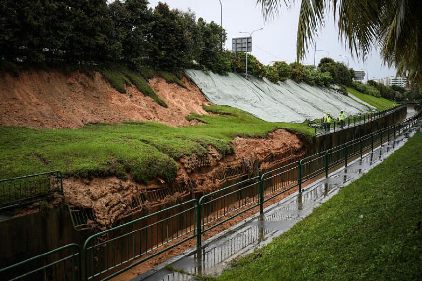 The landslip on Jan 2 caused seven railings by a monsoon drain to give way.