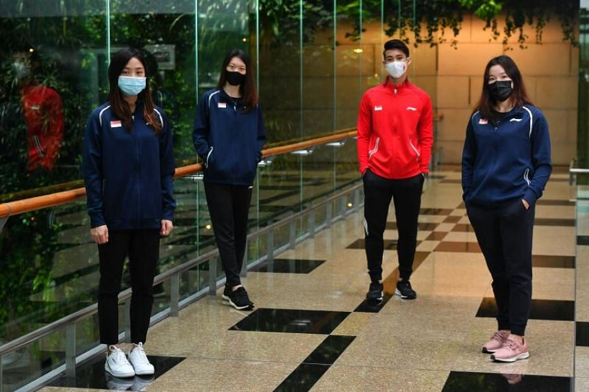 (From left) Yeo Jia Min, Jin Yujia, Loh Kean Yew and Crystal Wong will be competing in the Yonex Thailand Open and Toyota Thailand Open.