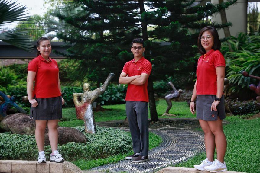(From left) National shooter Ho Xiu Yi, national silat exponent Nujaid Hasif Zainal Abidin, and national squash player Au Yeong Wai Yhann.