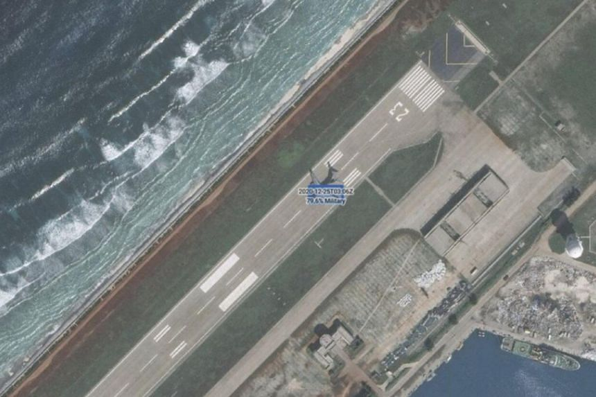 A Chinese People's Liberation Army Air Force Y-20 transporter was spotted on Kagitingan Reef on Dec 25, 2020.