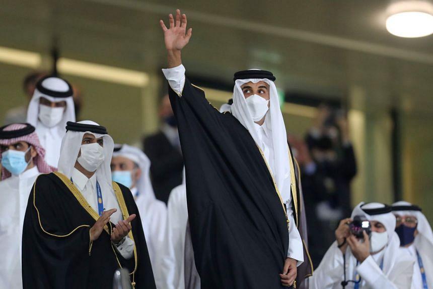 Qatari Emir Sheikh Tamim bin Hamad Al-Thani (centre) will attend the Gulf Cooperation Council annual summit in Saudi Arabia.