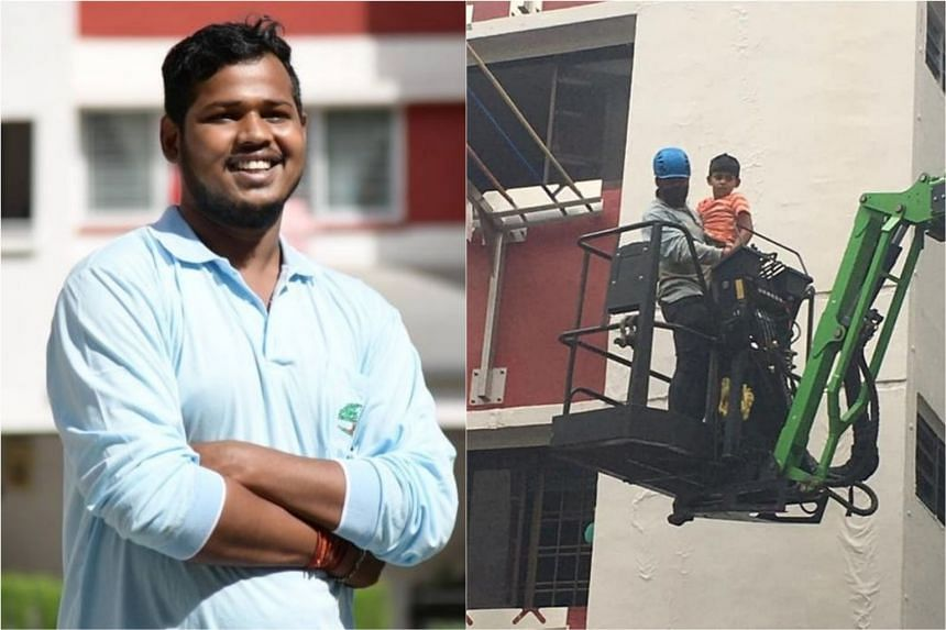 Mr Das Dipto saved a six-year-old boy from a third-floor window ledge in Hougang Street 22 on Jan 3, 2021, with a boom lift.