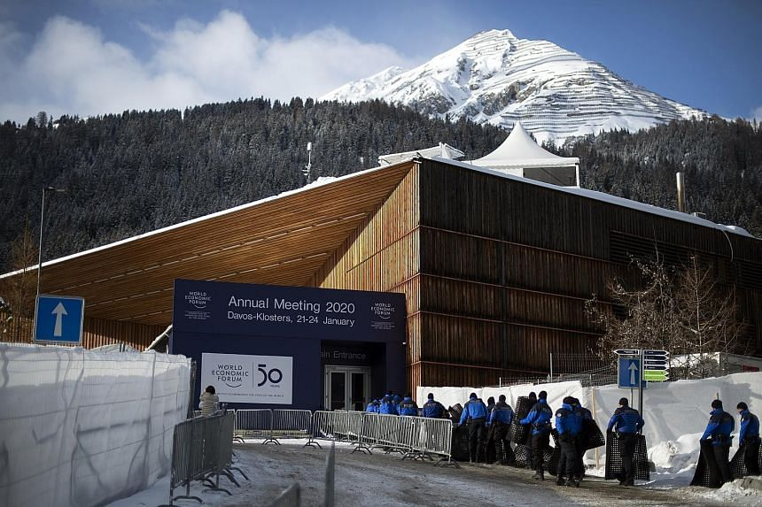 A venue used for the World Economic Forum in Davos, Switzerland, in January last year. The annual meeting will be held in Singapore from May 13 to 16 this year, before returning to Switzerland next year. PHOTO: EPA-EFE