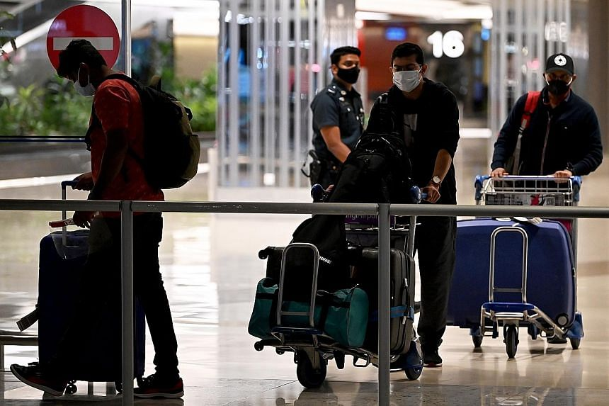 Passengers arriving at Changi Airport Terminal 1 in November. The White Paper, titled Restarting International Air Travel Within Asean, says allowing the restart of quarantine-free regional tourism is the most effective next step that governments can