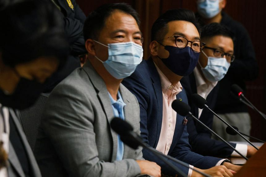 (From left) Former lawmakers Wu Chi-wai, Alvin Yeung and Lam Cheuk Ting at a news conference in Hong Kong, on Nov 9, 2020.