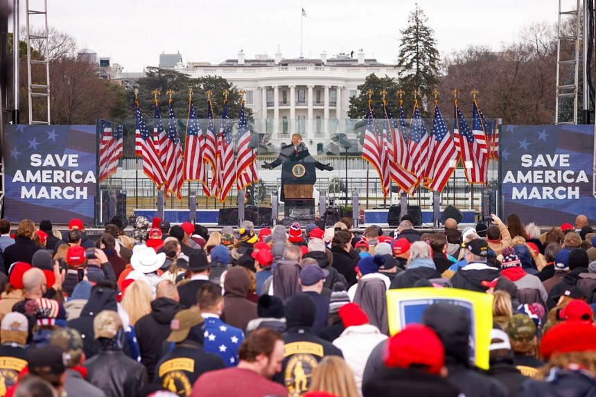 Trump speaks supporters during a rally in Washington to contest the certification of the 2020 US presidential election results.