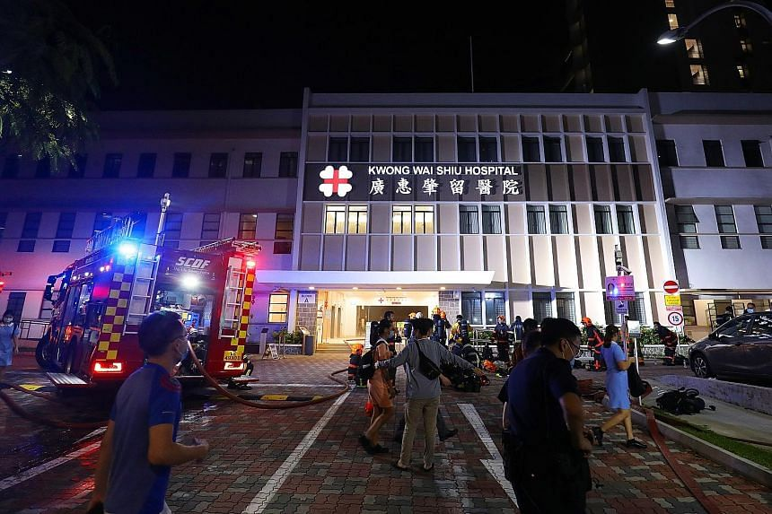 The Singapore Civil Defence Force said it was alerted to the fire at Kwong Wai Shiu Hospital in Serangoon Road at about 8.25pm on Tuesday. No one was injured, and the cause of the blaze is being investigated.