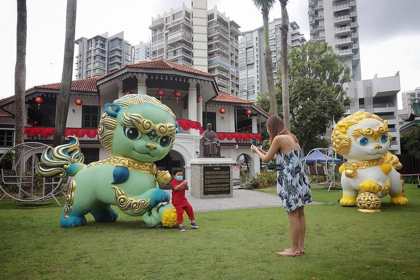 Two large guardian lions have been installed on the lawn of the Sun Yat Sen Nanyang Memorial Hall in Balestier to mark the start of the museum's Wan Qing Festival of Spring. The lions will be on display until Feb 28. ST PHOTO: JASON QUAH
