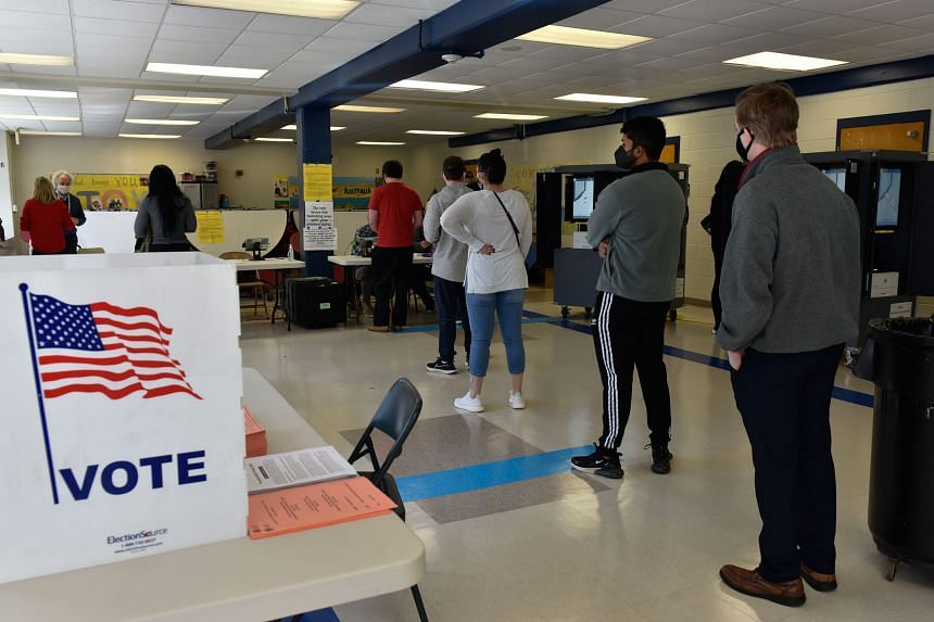 Voters queueing at the Sara Smith Elementary polling station in Atlanta, Georgia, on Jan 5, 2021.