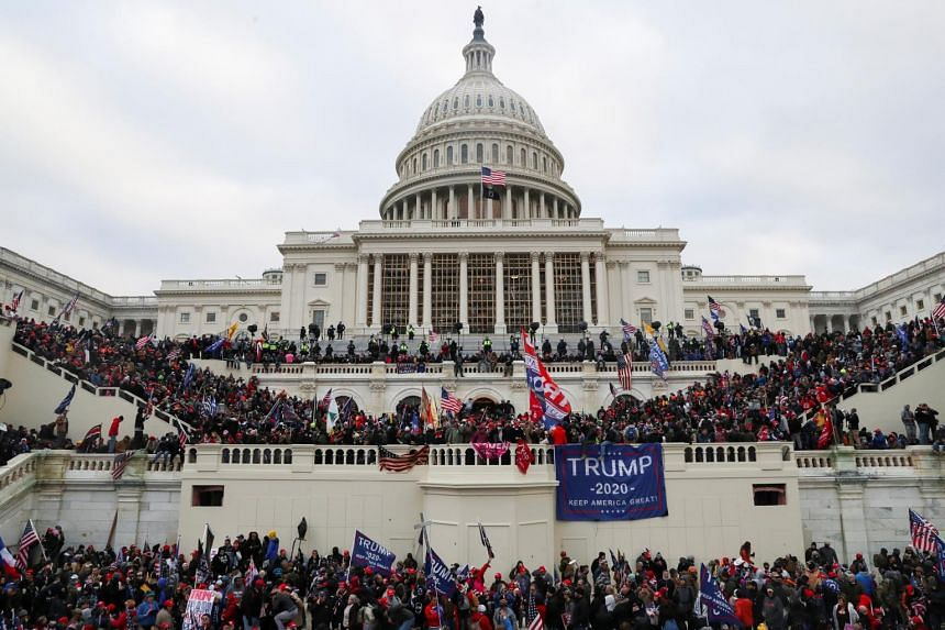 Supporters of US President Donald Trump gather in front of the US Capitol Building in Washington on Jan 6, 2021.