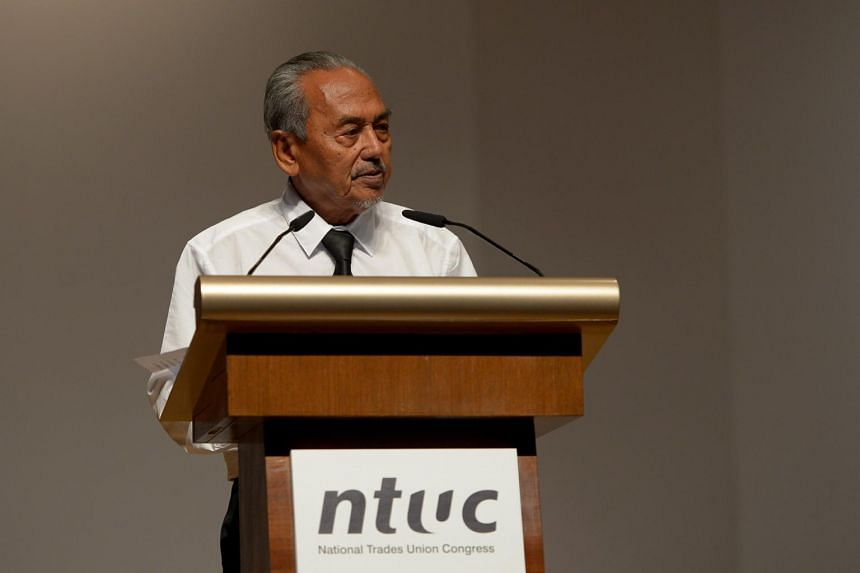 A photo from March 27, 2015, showing Mr Mahmud Awang speaking at NTUC's memorial ceremony for the late Mr Lee Kuan Yew.
