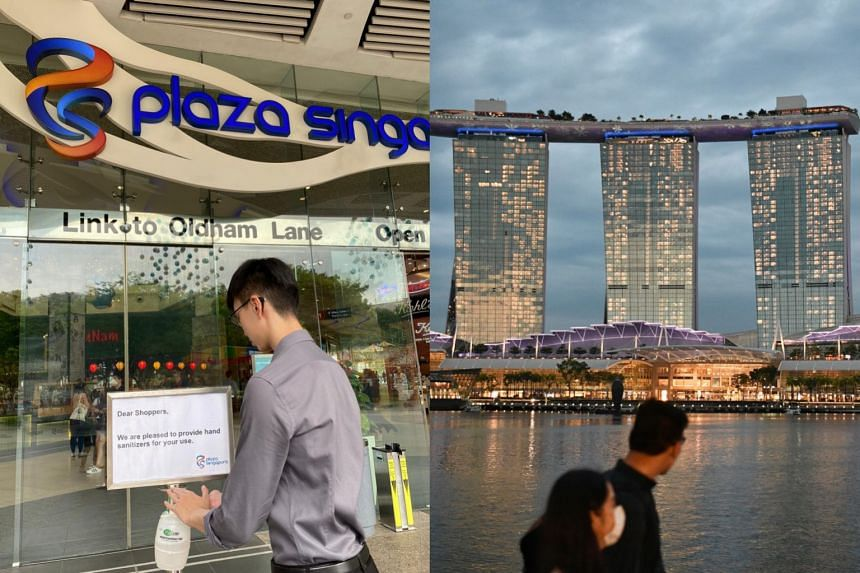 Plaza Singapura (left) and Marina Bay Sands were among 26 places visited by Covid-19 patients while they were still infectious.
