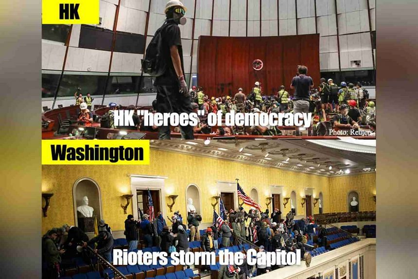 A side-by-side photo comparison of Hong Kong protesters occupying the city's Legislative Council Complex in July 2019 with Wednesday's Washington riots.