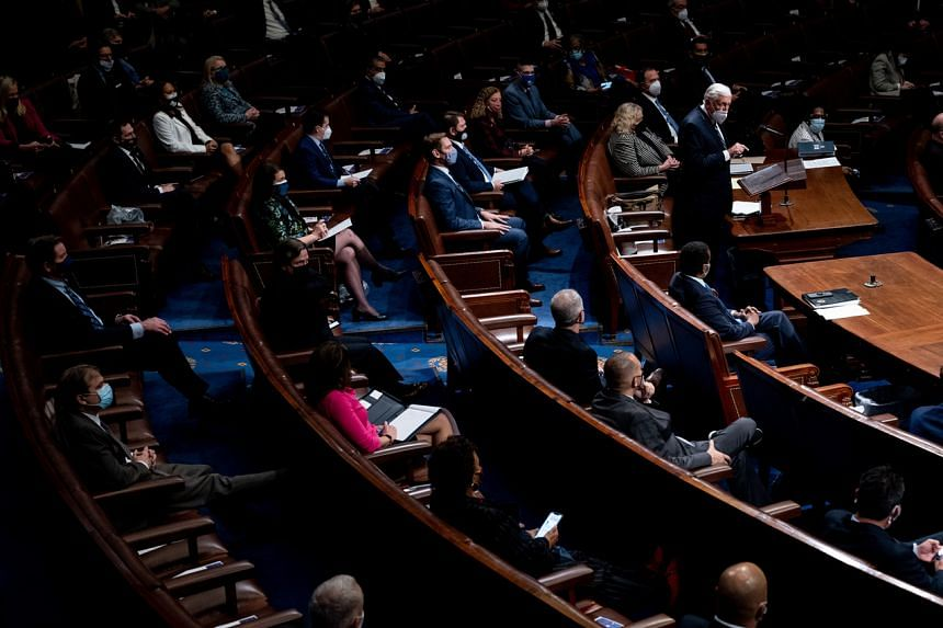Members of the House of Representatives and Senate resuming a debate in the US Capitol in Washington on Jan 6, 2021.