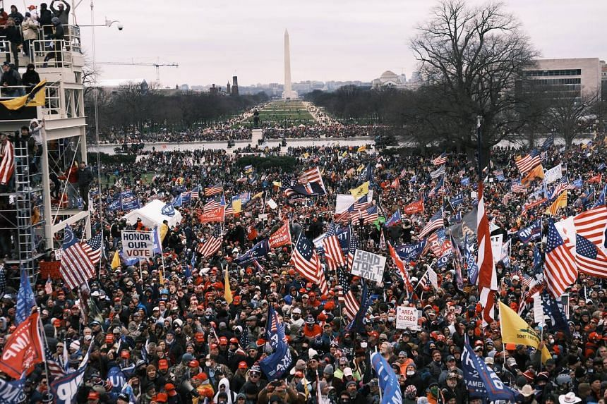 Supporters of US President Donald Trump protest in front of the Capitol in Washington on Jan 6, 2021.