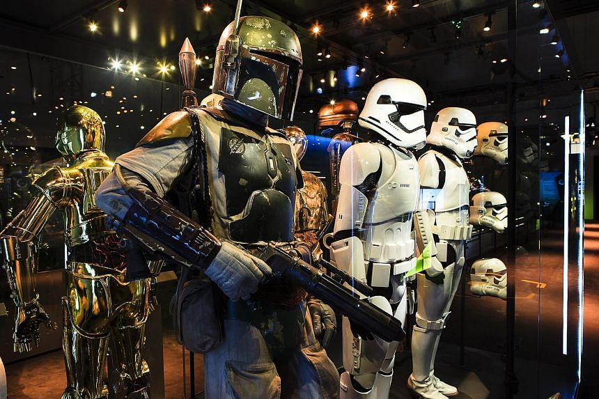 (From far left) Models of Star Wars characters C-3PO, Boba Fett and Stormtroopers will be on show at the Star Wars Identities exhibition.