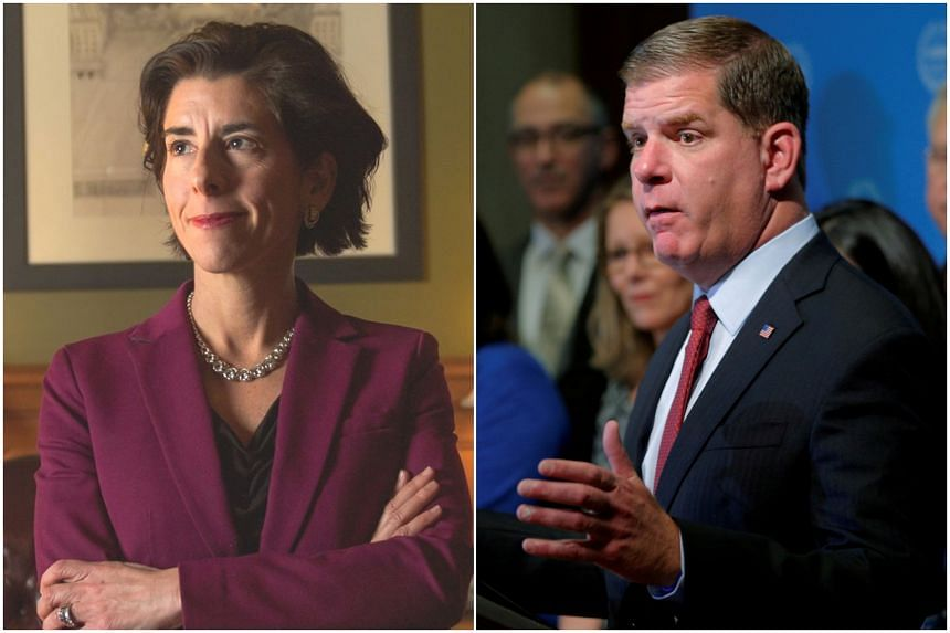 Ms Gina Raimondo (left) is Rhode Island's first woman governor while Mr Marty Walsh was elected Boston mayor in 2013.