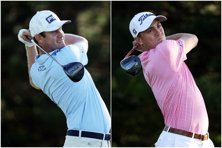 Harris English (left) and Justin Thomas play their shots during the Sentry Tournament of Champions in Kapalua, Hawaii, on Jan 7, 2021.