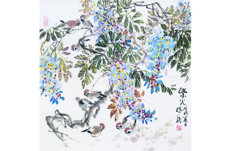 Nai Swee Leng's ink on paper painting, Sparrows And Wisteria (above).