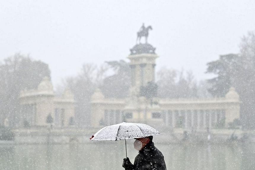 A man walks as snow falls in the Retiro Park in downtown Madrid on Jan 7, 2021.