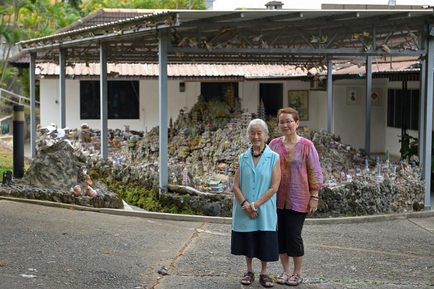 Madam Chung Khin Chun (left) and her niece Hedy Mok at Madam Chung's bungalow in Gerald Crescent.