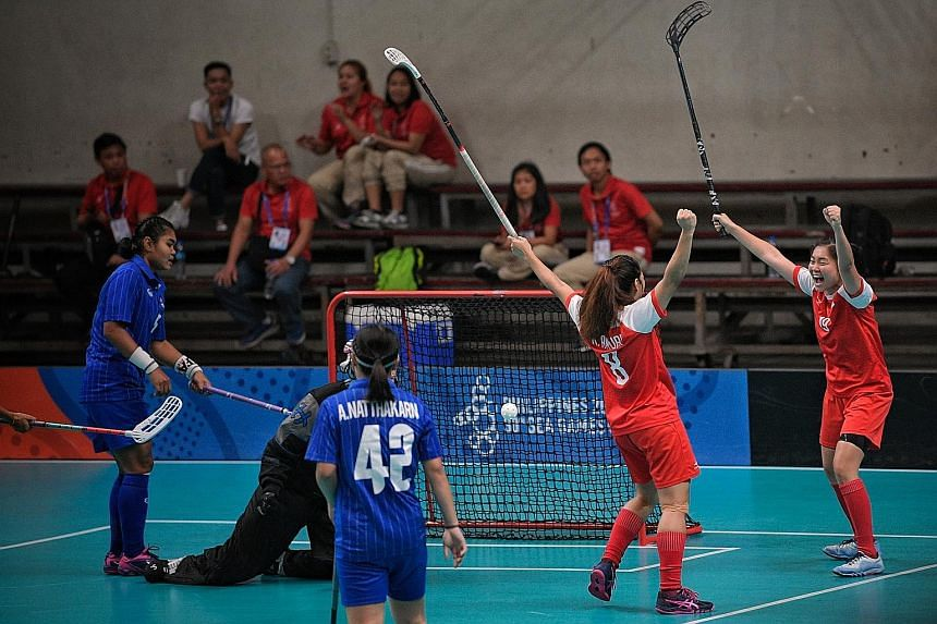 Above: The water polo team failed to win gold in 2019 for the first time in SEA Games history, ending up third. Their bid for redemption may have to wait. Left: The women's floorballers, who beat Thailand 3-2 in the 2019 final, will not get to defend