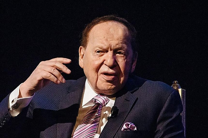 Singapore's Marina Bay Sands was the second biggest contributor - 22 per cent - to Las Vegas Sands' $18.2 billion revenue in 2019. Las Vegas Sands chairman and chief executive officer Sheldon Adelson (below) oversees operations from the Las Vegas Str