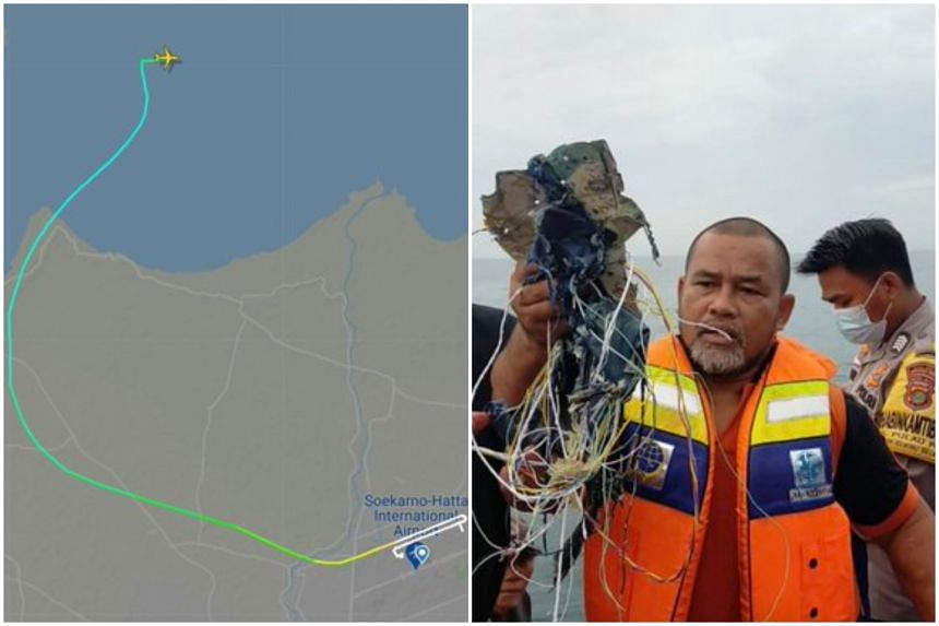 A flight tracker map showing the plane after it took off from Soekarno-Hatta International Airport. (Right) Unverified photos circulating online show debris fished from the water.