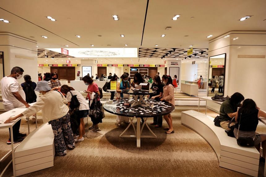 Shoppers at Robinsons' Raffles City outlet at around 2.40pm on Jan 9, 2021.