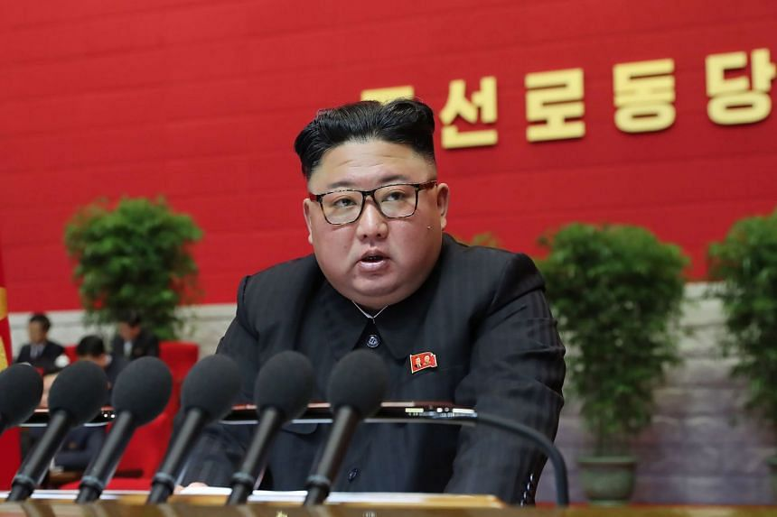 Mr Kim Jong Un speaks during the third day of the 8th Congress of the Workers' Party of Korea in Pyongyang, on Jan 7, 2021.