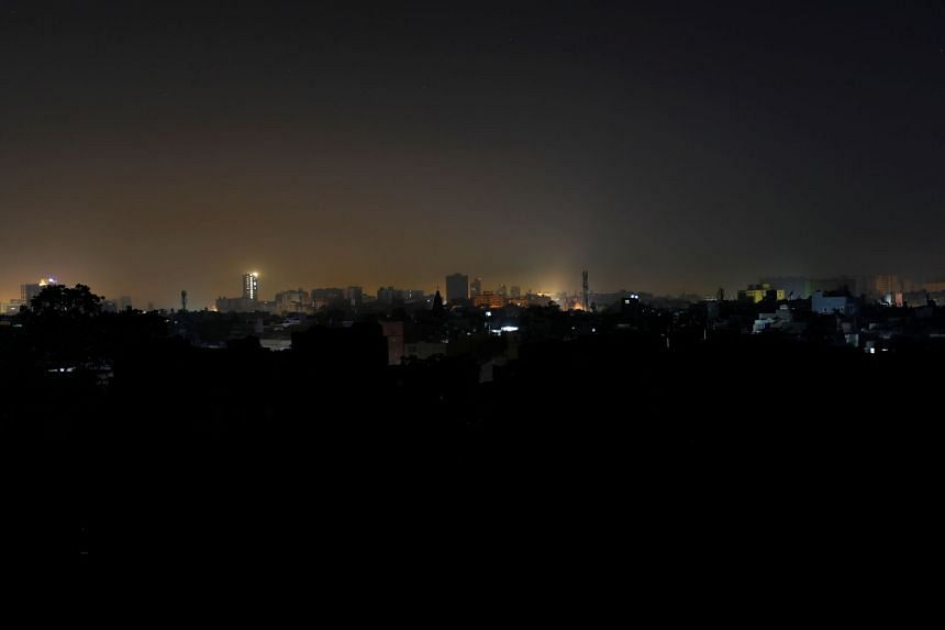 A general view of a residential area is seen during a power breakdown in Karachi, Pakistan, on Jan 10, 2021.