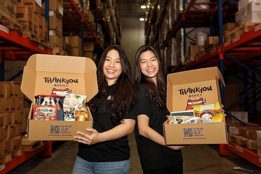 MoguShop founders Lavender Chia (left) and Rebecca Kwan (right) at their warehouse. The online shop sells Japanese items such as rice, sauces, salt, meat, uni (sea urchin) and crisps with flavours like unagi (eel) and plum bonito.