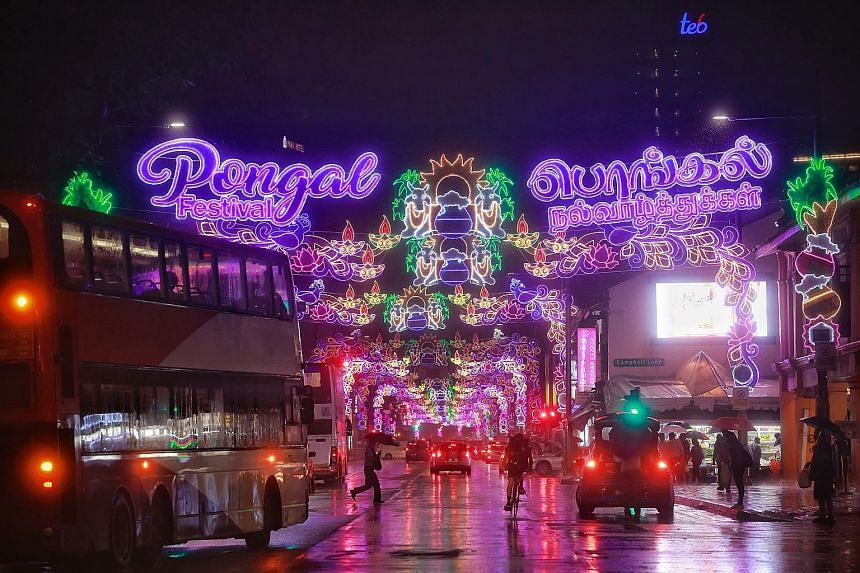 The grand light-up for this year's edition of the Pongal festival in Serangoon Road yesterday. The festival, which starts on Thursday and runs for three days, is celebrated by farmers in India to give thanks for a year of bountiful harvest. The tradi