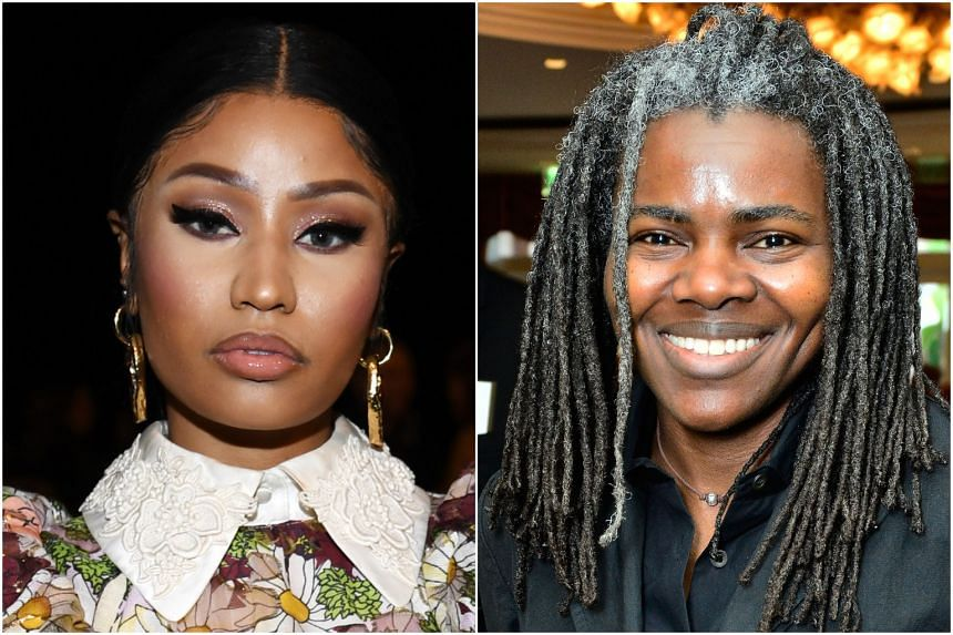 Tracy Chapman sued Nicki Minaj (left) for copyright infringement in late 2018 over a song called Sorry.
