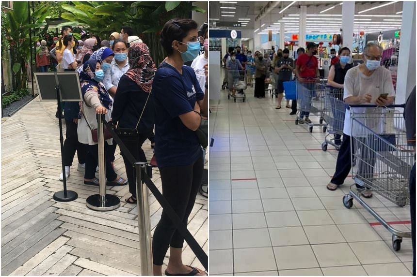Malaysians thronged hypermarkets and restaurants over the weekend to stock up on supplies and dine with families and friends.