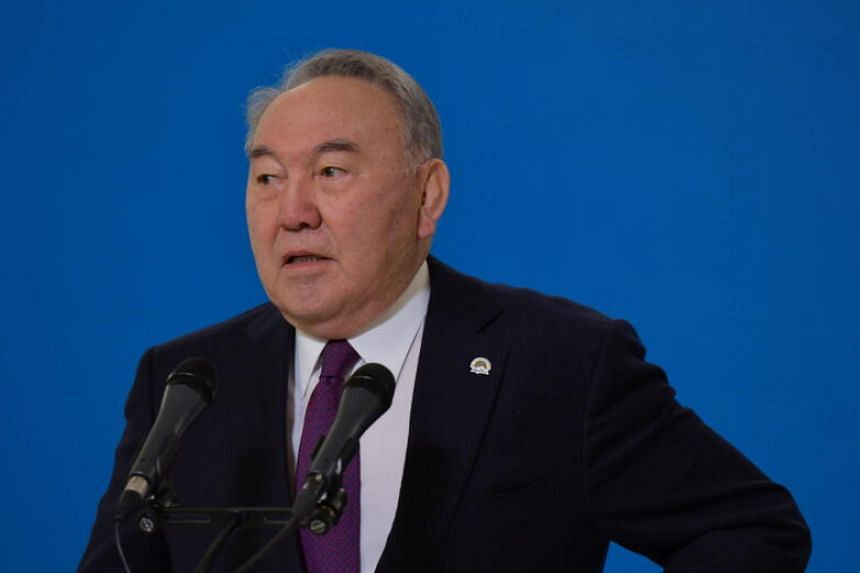 Nursultan Nazarbayev speaking to the media during a parliamentary election in Nur-Sultan, Kazakhstan, on Jan 10, 2021.