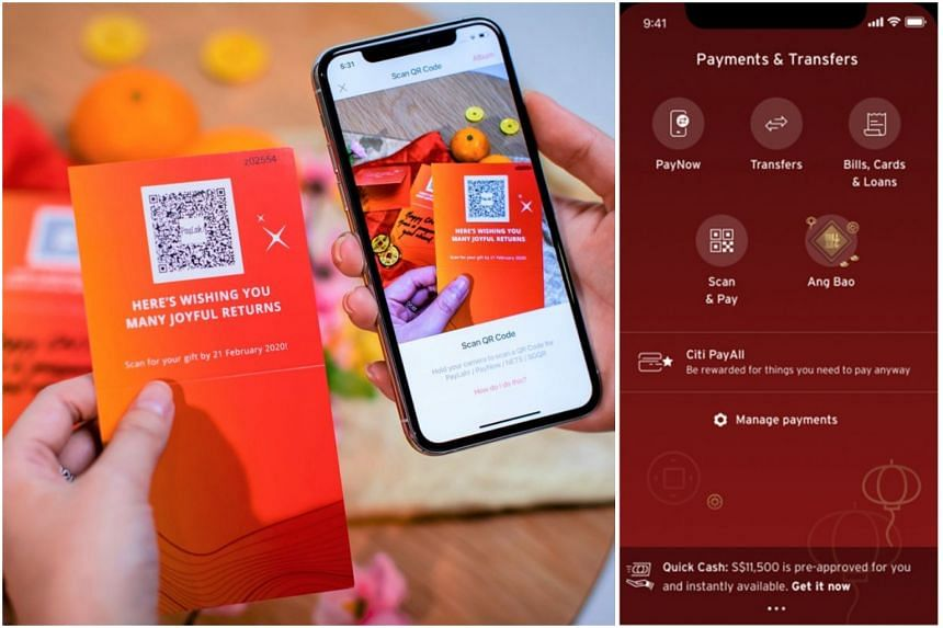 DBS Bank's QR Gift card (left) and Citibank's mobile app, which can be used to send and receive e-hongbao.