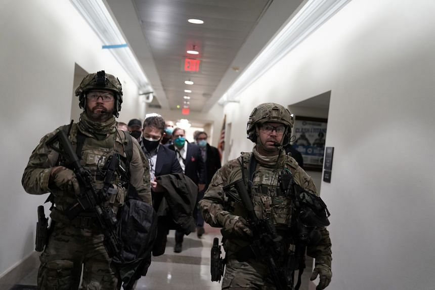 The National Guard in the Capitol in Washington on Jan 6 after protesters breached security and entered the building.