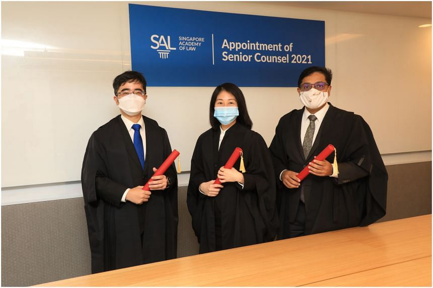 (From left) Professor Goh Yihan, Ms Kristy Tan and Mr Abraham Vergis, who were appointed Senior Counsel on Jan 11, 2021.