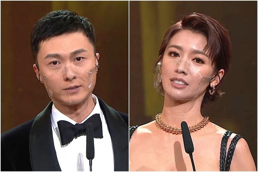 Vincent Wong (left) and Sisley Choi at the TVB Anniversary Awards 2020.