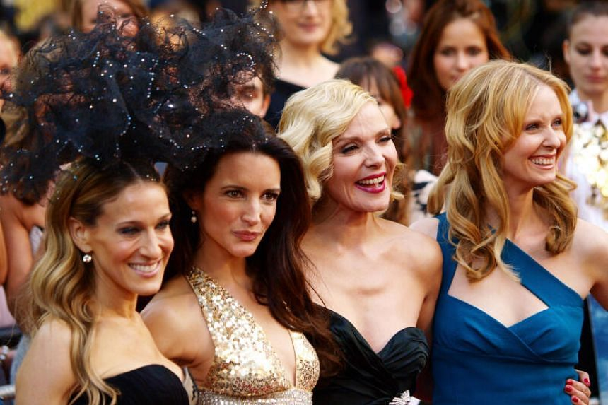 """(From left) Sarah Jessica-Parker, Kristin Davis, Kim Cattrall and Cynthia Nixon arrive at the premiere of """"Sex and the City 2"""" in London, on May 27, 2010."""