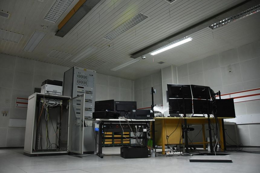 A police photo shows the interior of the illegal computer centre in a former Nato bunker in Germany.