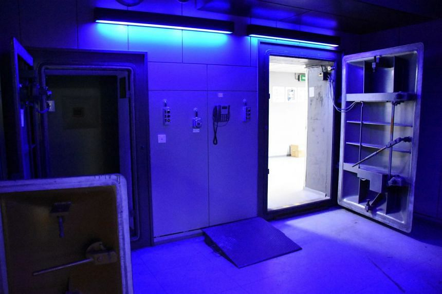 A police photo shows the interior of an illegal computer centre in a former Nato bunker in Germany.