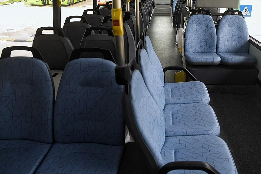 The three-door buses will have two staircases leading to the upper deck instead of the usual one. The additional staircase has led to some changes in the orientation of seats on the upper deck, with three seats offering a panoramic view. ST PHOTOS: K